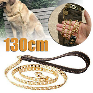 Stainless-Steel-Dog-Chain-Gold-Pet-Puppy-Solid-Walking-Training-Leash-Lead