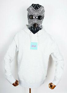 Huf Sweatshirt Hooded Hoodie Domestic Box Logo Embroidery Athletic Heather in M