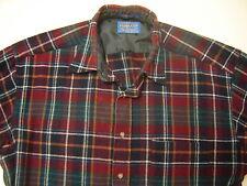 Vintage PENDLETON Wool Shirt Navy Burgundy Green Tartan Plaid mens Large USA
