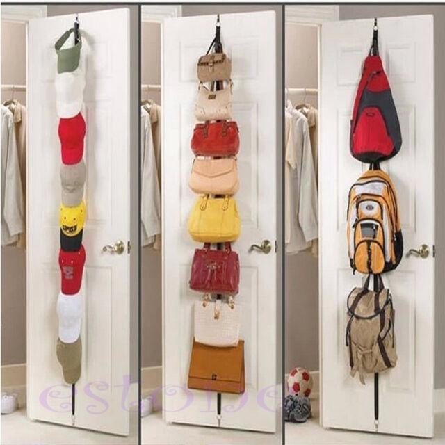 1x Over Door Straps Hanger Adjustable Hat/Bag/Clothes/Coat Rack Organizer 8 Hook