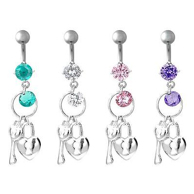 Surgical Steel Body Piercing 14Ga Jeweled Dangle Key Belly Ring with Pink Heart