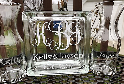 Glass Block Mickey and Minnie Mouse Disney Sand Ceremony Set Etched Glass