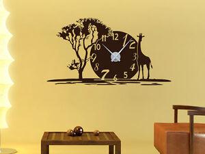 Das Bild Wird Geladen Wandtattoo Uhr Mit Uhrwerk Wanduhr Fuer Wohnzimmer  Afrika