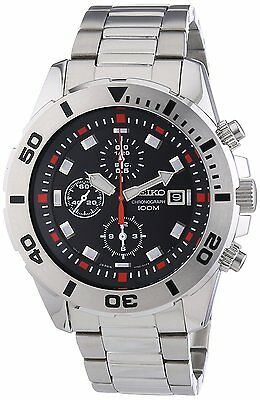 SEIKO Chronograph SNDD95 SNDD95P1 Mens Black Dial Stainless Steel 100m Watch