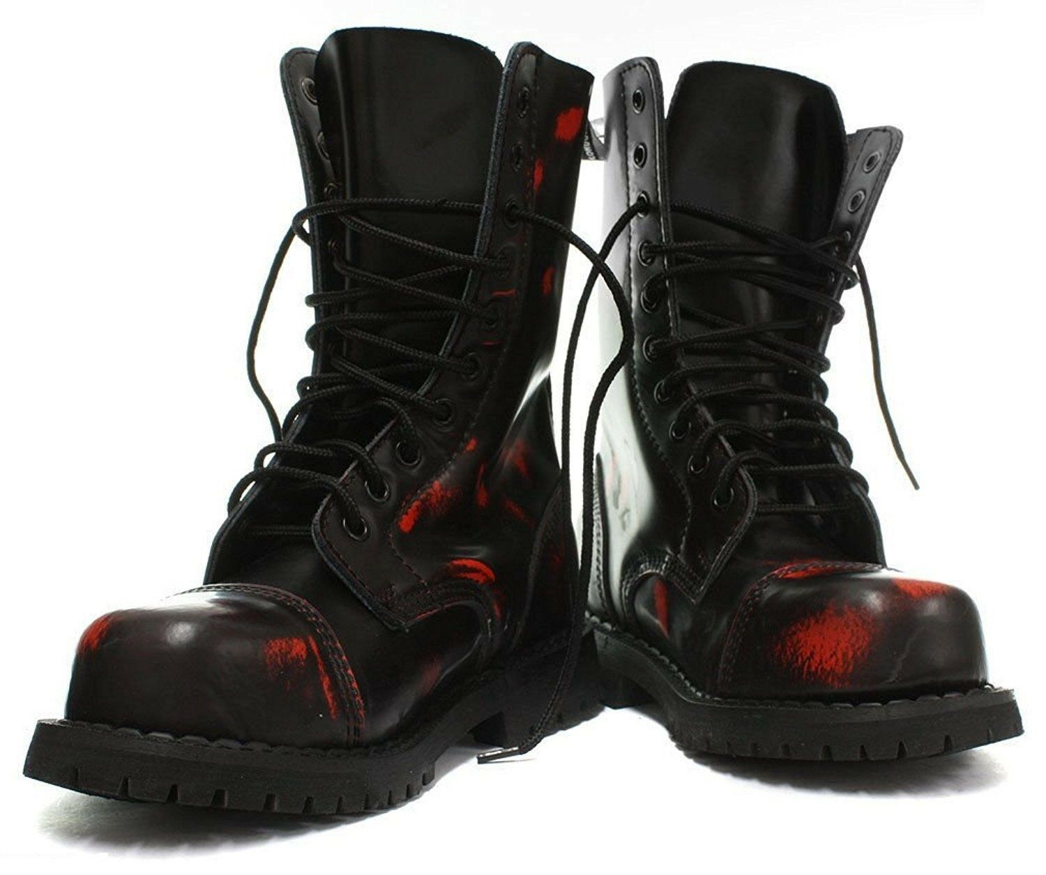 Grinders Hunter Black Red Rub Off Leather Unisex Combat Boots Red Punk Military