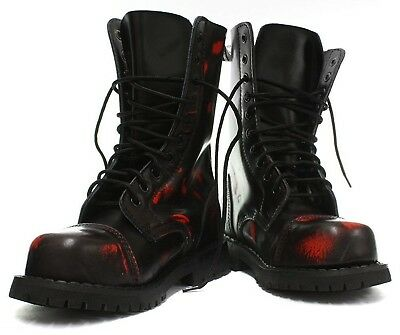 Red And Black Combat Boots