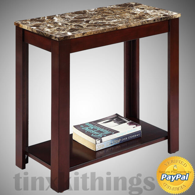 Faux Marble Top Sofa Side Table Home End Shelf Storage Entry Way Living Room  New