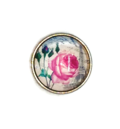 """Noosa Chunks Ginger Style Snap Button Charms /""""Pink Roses In Paris/"""" 20 mm New"""