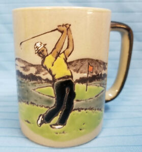 Men-Man-Manly-Golf-Pottery-Cup-Mug-Father-Dad-039-s-Day-Brown-Green