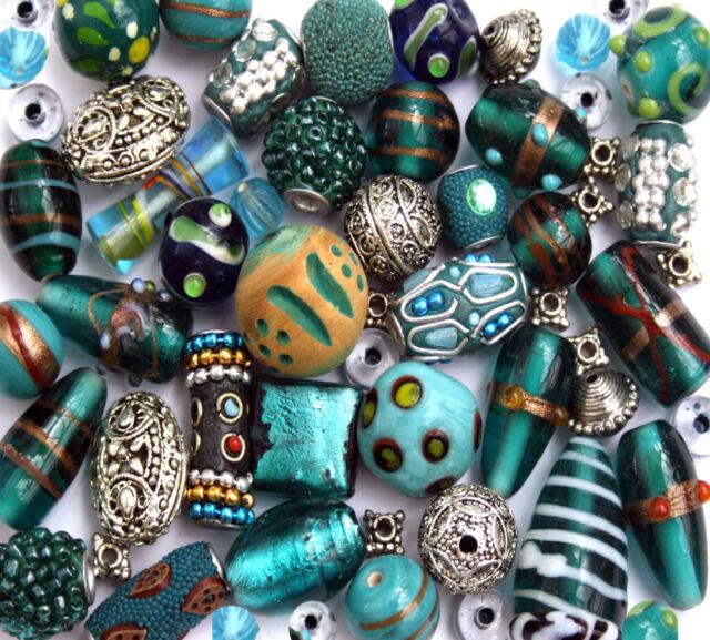150g Luxury mixed lot of Glass Tibetan Wood Jewellery Making Beads