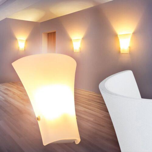 Wandleuchte Schlaf Wohn Zimmer Lampen Glas weiß  Büro Flur Leuchten Wandlampe