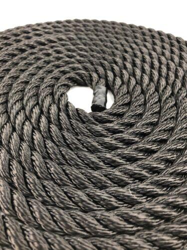 "Choose Length Marine 8/"" Soft Eye 10mm Black Nylon Mooring Lines Yacht Rope"
