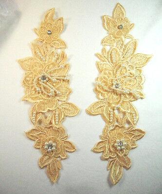 "Venice Lace 3D Silver Floral Applique w//Crystal Rhinestones /& Pearls 10/"" DH104"