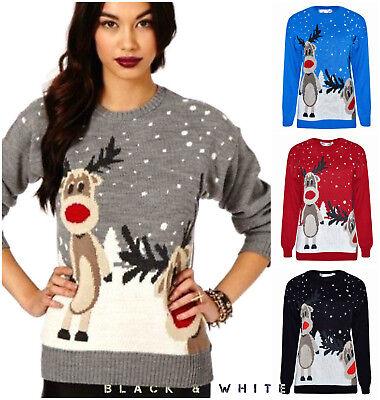 Bescheiden Ladies Men Unisex Christmas Double Rudolph Vintage Novelty Jumper Retro Sweater