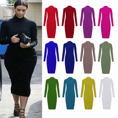 Womens Ladies Turtle Neck Polo Neck Long Sleeve Stretch Bodycon Midi Dress 8-26