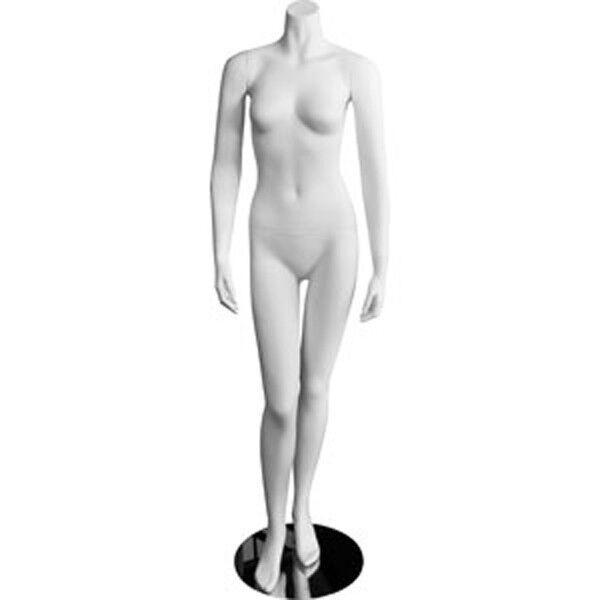 Female Headless White Fiberglass Mannequin Clothing Display W/Chrome Stand NEW