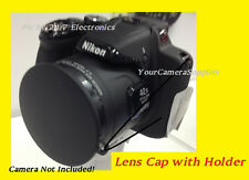 SLIP-ON FRONT LENS CAP  DIRECTLY TO CAMERA NIKON COOLPIX P510 P 510 + HOLDER