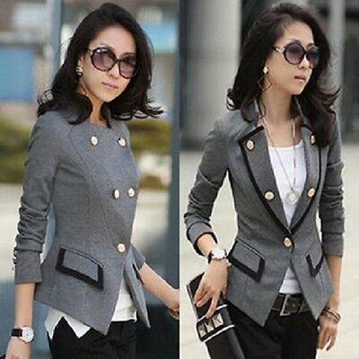 UK STOCK Women Ladies Long Sleeve Lined Blazer Tailored Jacket Coat
