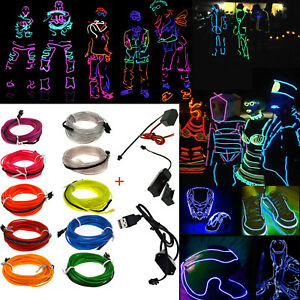088affc4 LED Glow Light El Wire String Strip Rope Car Dance Party + 3V 12V ...