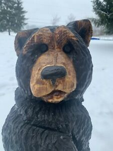 Chainsaw Carved BIG SITTIN' BEAR Carving Cabin Decor Rustic Log Wood Sculptures