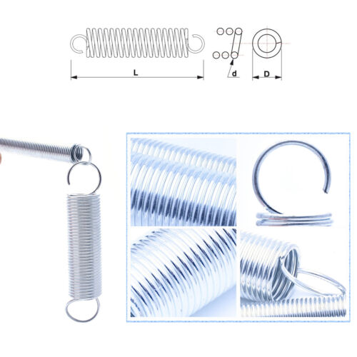 Expansion Springs 0.4~0.7mm Wire Dia.Extension Tension Spring Hook Zinc-Plated