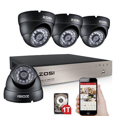 ZOSI 8CH 720P DVR Videoüberwachung Set Außen Dome Kamera Überwachungssystem 1TB