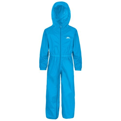 Trespass Button Kids Waterproof Rain Suit Boys Girls Windproof All In One Jacket