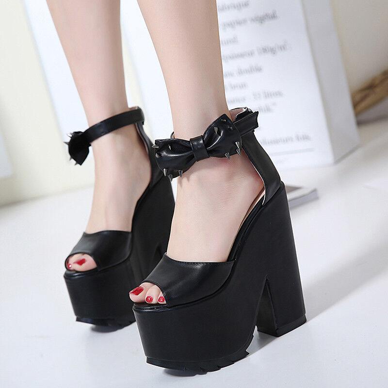 Sabot ciabatte 13 cm fiocco  noir platform quadrato sandali pelle sintetica 9985