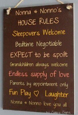 Grandparents House Rules Black Kids Cute Nonna Nonno Italian Wall Sign