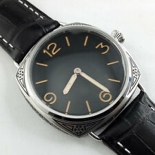 Parnis Black Dial carving military Mechanical hand winding Watch Florence DHL