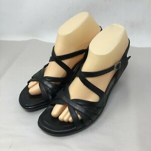 Dansko-Womens-Size-38-8-Black-Leather-Wedge-Heels-Strappy-Sandals-Shoes