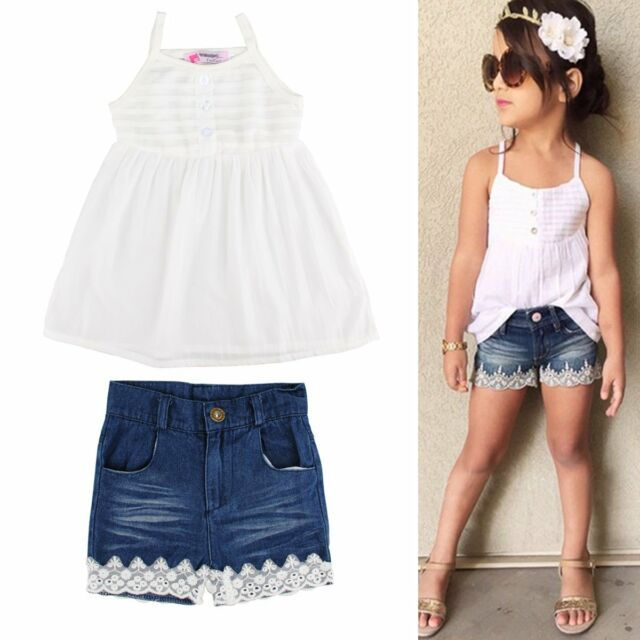 2pcs Toddler Kids Baby Girl Outfits Tank Top Dress+Lace Jeans Pants Clothes Sets