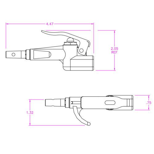"25/' Polyurethane Recoil Compressor Hose Fittings Air Blow Gun Foster 1//4/"""
