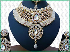 INDIAN JEWELLERY SET KUNDAN STYLE GOLD PLATED CLEAR STONES NEW AQ-