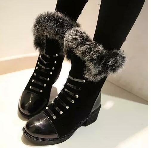 Bottes chaussures pour femmes rangers noir chaud comme cuir confortable 8228