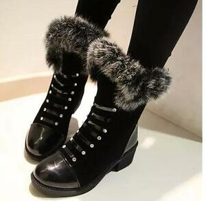 stivali stivaletti scarpe donna  anfibi nero caldi  simil pelle comode 8228
