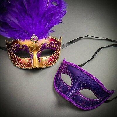 Purple Gold Theme Couples Masquerade Masks His /& Hers Masquerade Masks Masquerade Mask with Diamonds
