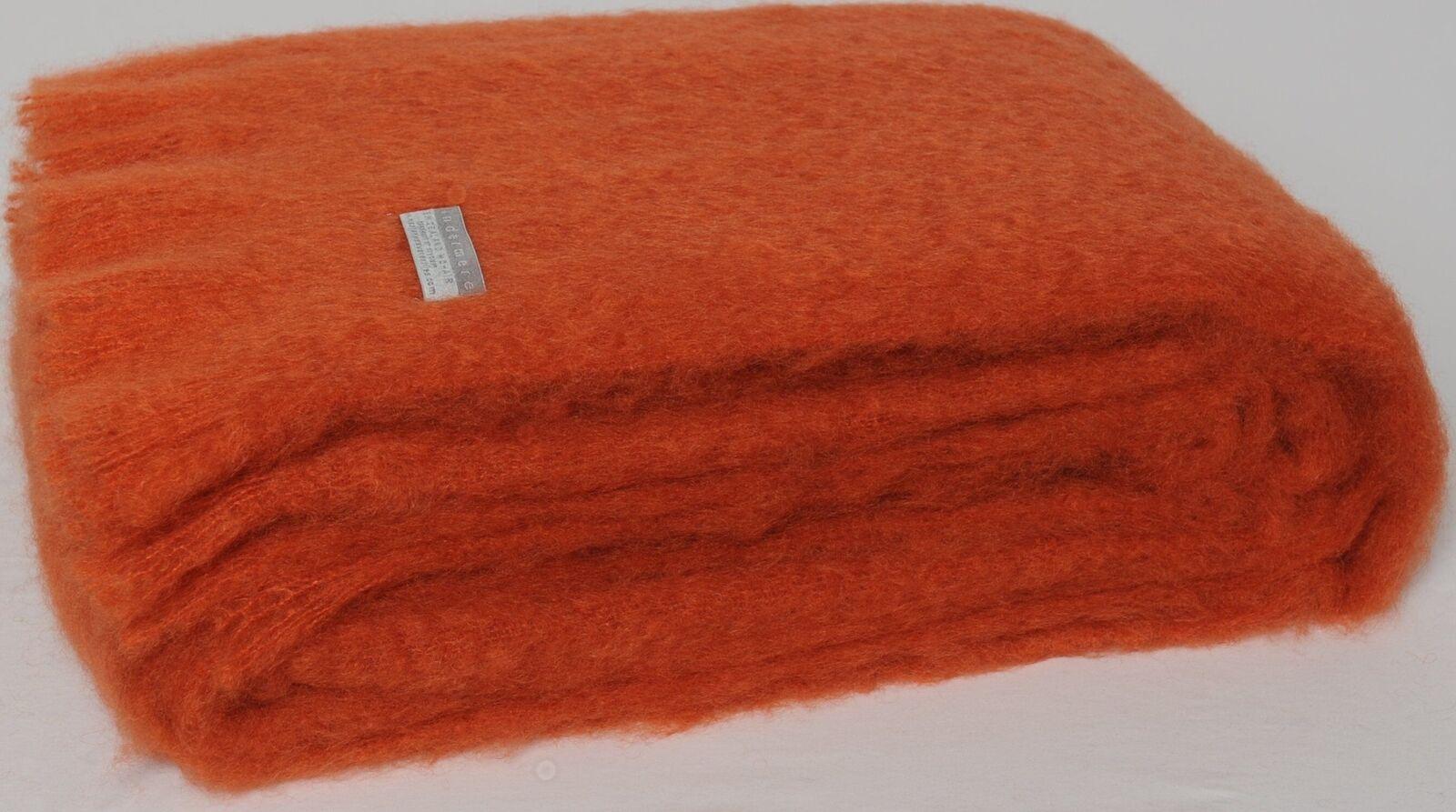 Masterweave Windermere Mohair Throw Rug Blanket in Pumpkin