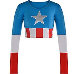 6a44947a231e10 Captain America Dream Civil War Adult Crop Top Marvel Comics Brand ...