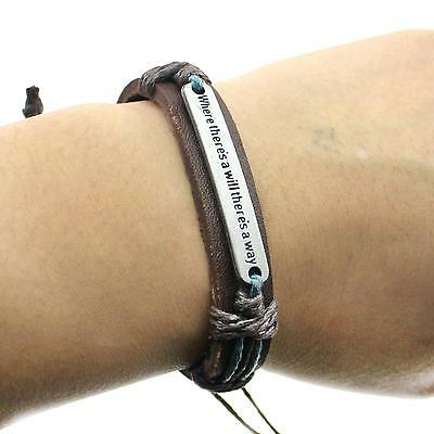 Mens Womens Handmade Leather Metal English Proverbs Wrap Wrist Band Bracelet New