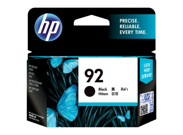2x HP Genuine 92 C9362WA Black Deskjet 5440 Officejet 6310 Photosmart 7830 C3140