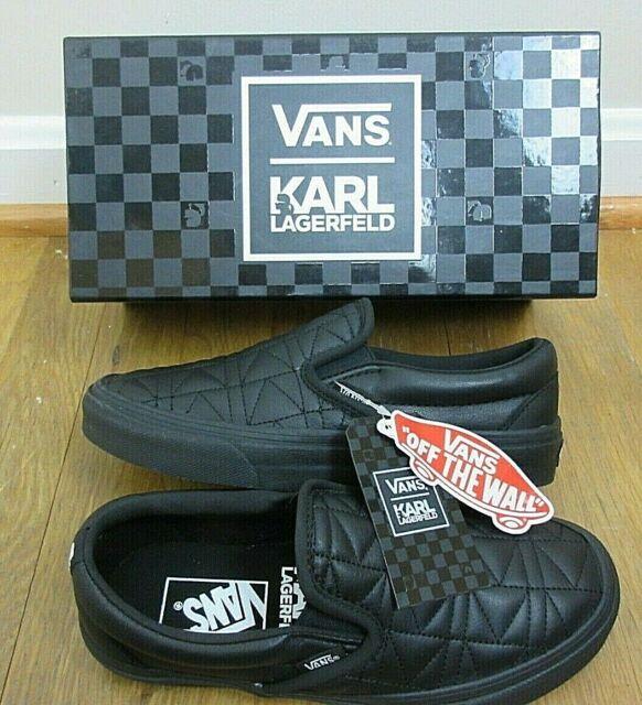0f9035b1a1 Vans x Karl Lagerfeld Womens Classic Slip on K Quilted shoes Black Size 6  NIB