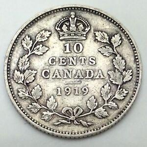 1919 Canada Ten 10 Cents Circulated Silver Dime Canadian Coin D402 Ebay