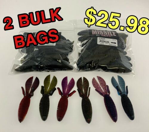 """from Missile Baits 4.5/"""" Flip Bait D BOMB 25 Count each LOT OF 2 BULK BAGS"""