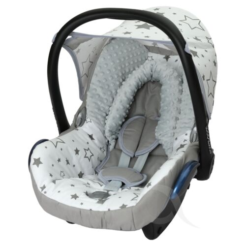 FULL SET cotton grey /& white SM star Car Seat Cover fits Maxi Cosi CabrioFix 0
