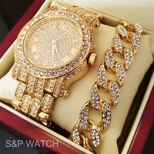 Men Hip Hop Iced Out Gold Tone Simulated Diamond WATCH   Cuban ... e4a6da4226