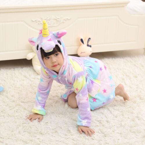 Kids Girls Unicorn Pajamas Bathrobe Sleepwear Cosplay Costume Bath Robe Jumpsuit