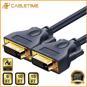 Cabletime-DVI-Cable-24-1-Pin-Braided-Shielding-DVI-to-DVI-M-M-For-HDTV-PC