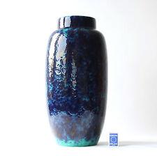 SCHEURICH FAT LAVA KERAMIK BODENVASE BLAUE GLASUR __51cm__70er