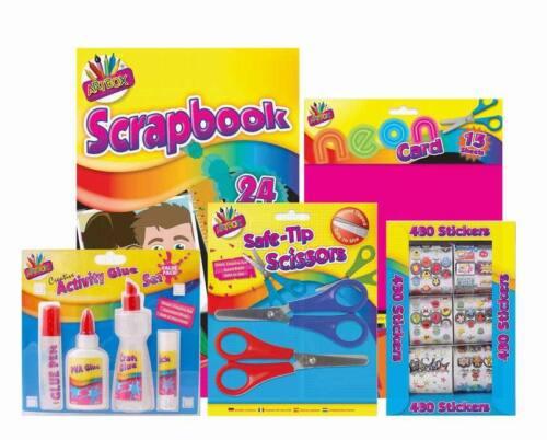 Scrapbook Set con álbum de recortes 480 Pegatinas 4pc conjunto de pegamento tarjeta de neón x2 Tijeras